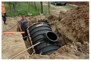 Установка емкости для канализации
